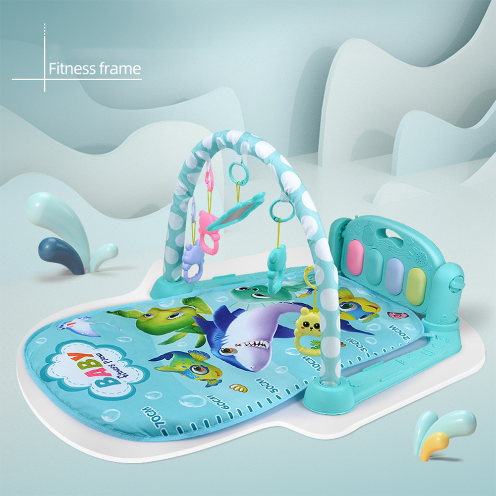 Children  Pedal  Piano  Toys Piano Fitness Rack Puzzle Music Game Blanket Multifunctional Toy Ocean World-Blue