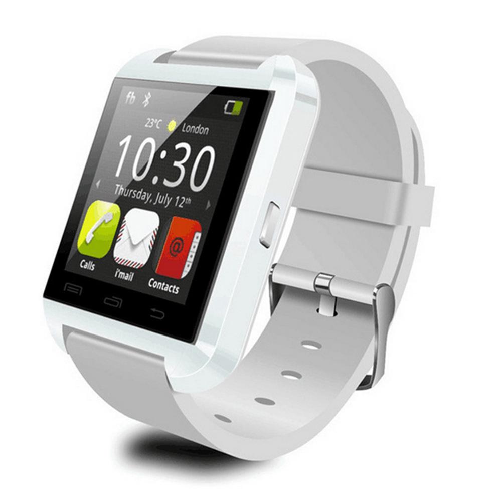 U8 Bluetooth Smart Watch Anti-lost Pedometer Stopwatch Heart Rate Detection Health Tracker white
