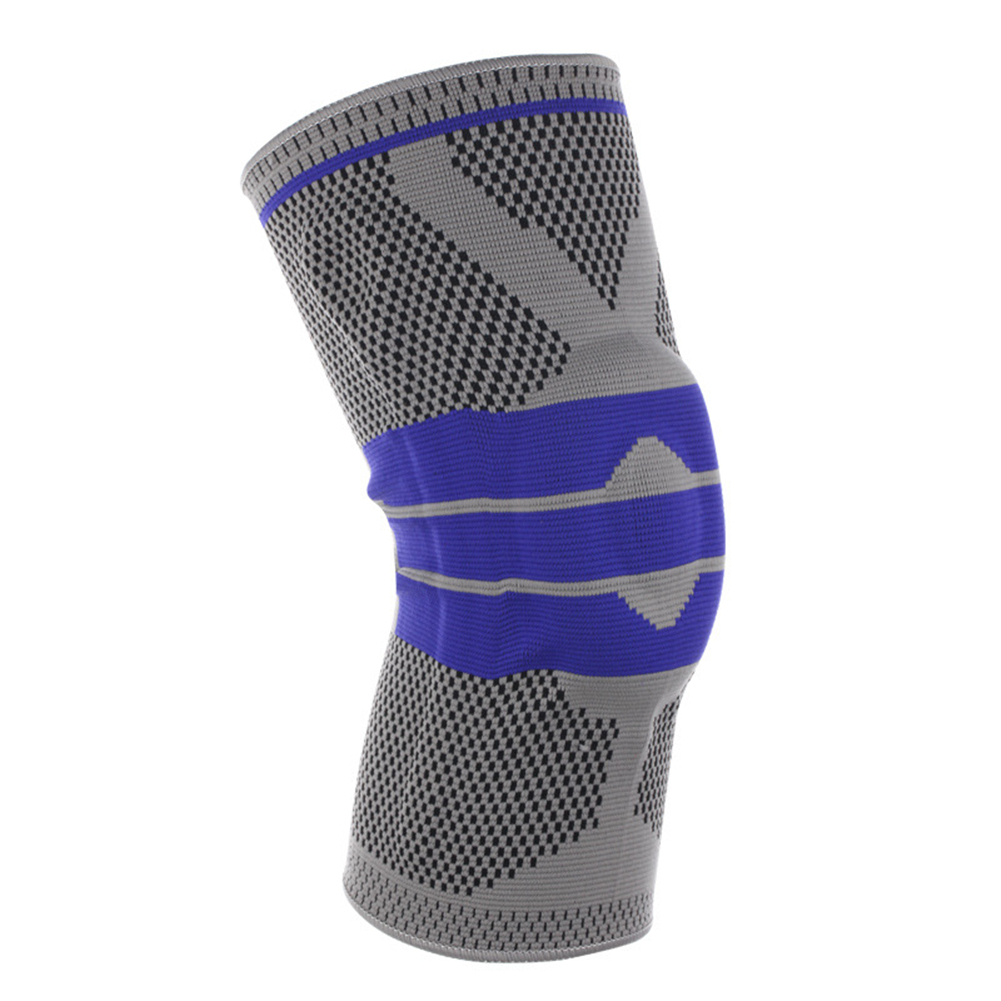3D Weaving Protective Compression Knee Sleeve for Men & Women, Knee Brace Support for Basketball Football Sports Activities Smoke gray XL