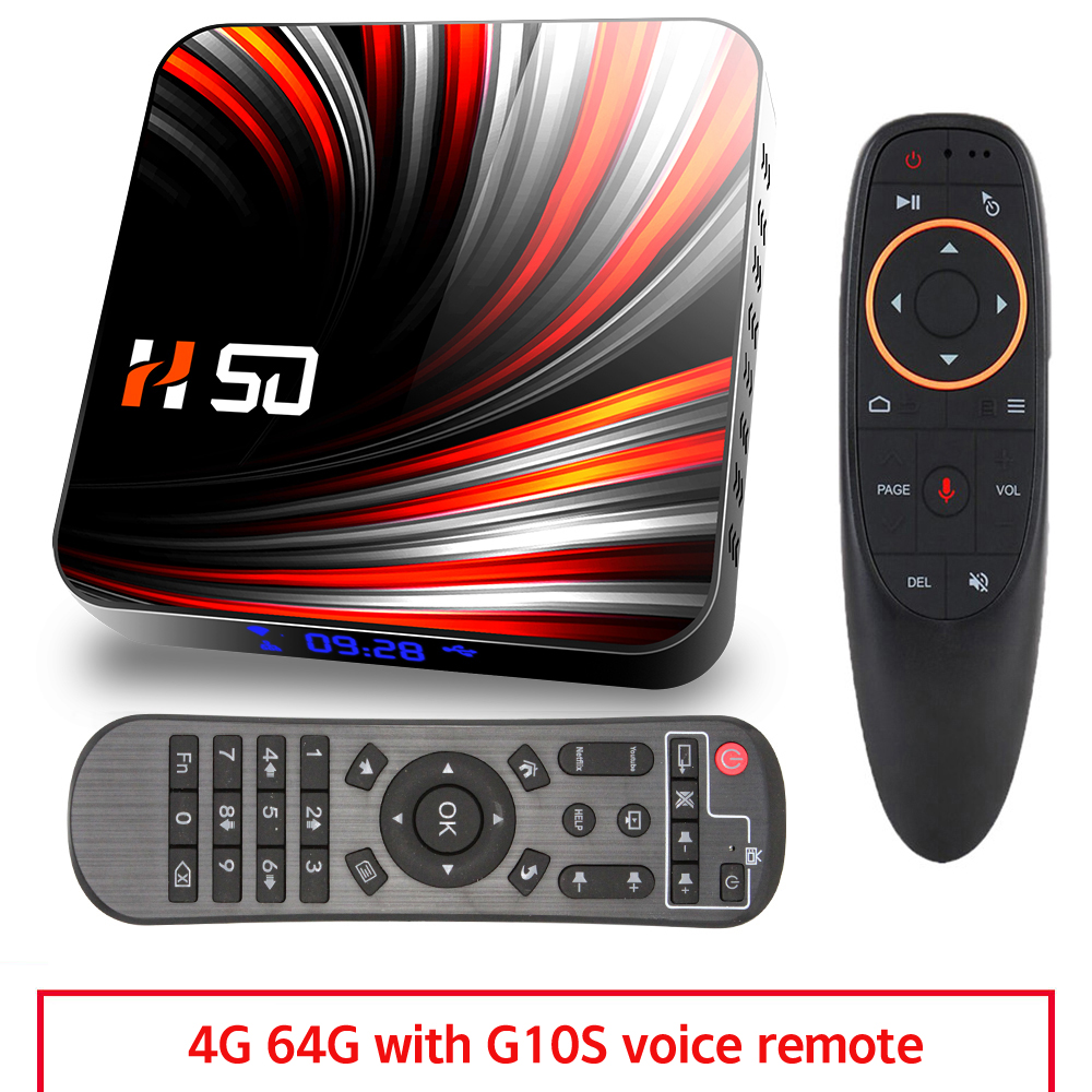For Android Tv  Box Android 10.0 4k 4gb 32gb 64gb Media Player 3d Video Smart Tv Box 4+64G_US+G10S remote control
