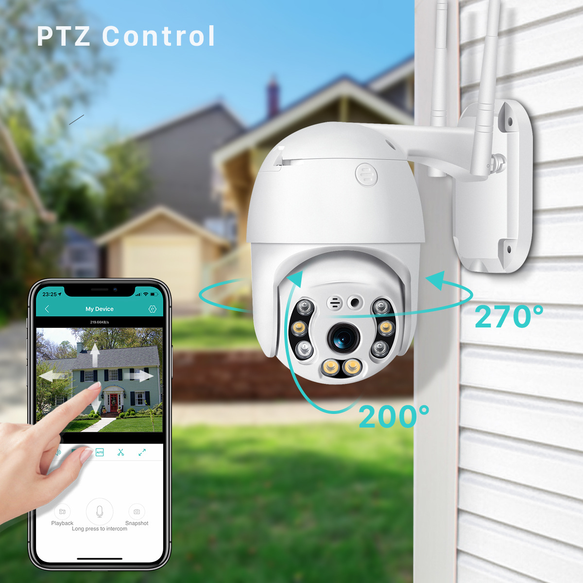 1080P H.265 Waterproof WiFi Camera Motion Voice Alert Dual Antenna PTZ IP Camera Audio IR Night Vision CCTV Surveillance 1080P British standard