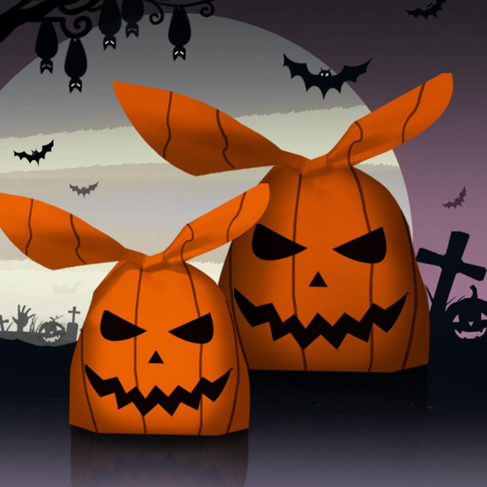 50pcs/set Halloween Rabbit Shaped Candy  Wrap 13*22cm Packaging Bag Set Pumpkin series