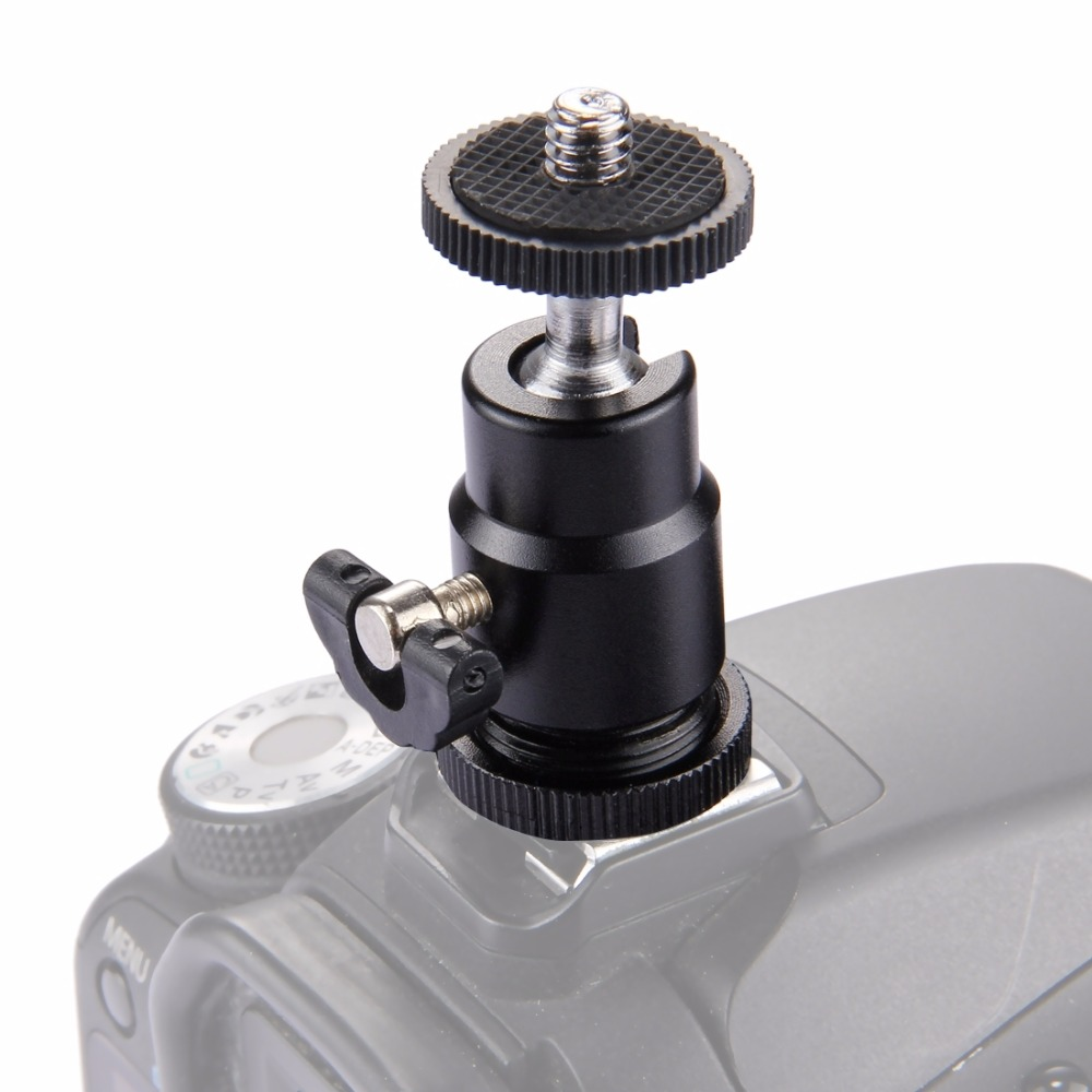 360 Degree Swivel Konsait Mini Ball Head Mount Hot Shoe Tripod Head Tripod Screw Head with Lock black