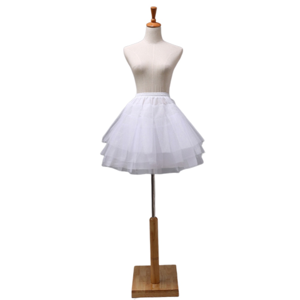 Woman Cosplay Maid Outfit Delicate Tulle Short Boneless Wedding Dress Petticoat white_35cm