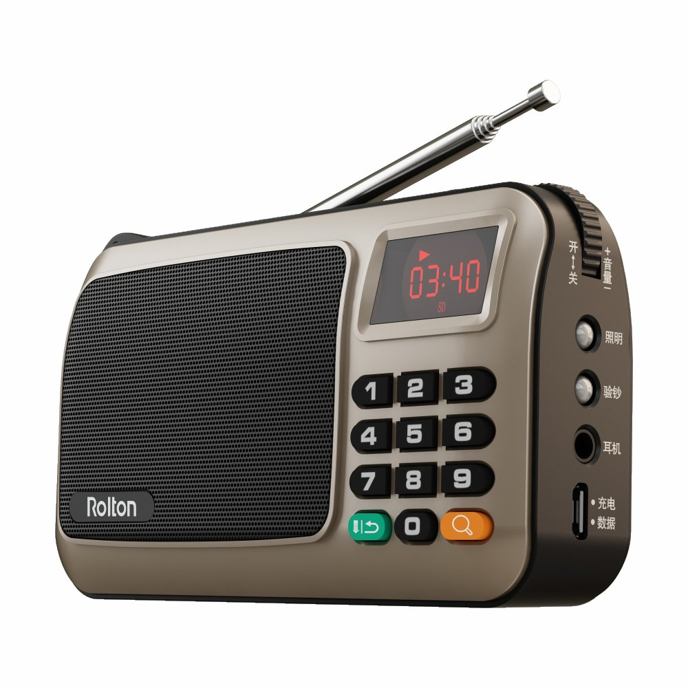 Rolton W405 Portable Mini FM Radio Speaker Music Player TF Card for PC iPod Phone with LED Display Gold