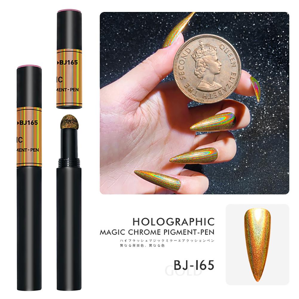 Solid Powder Air Cushion Magic Pen Nail Art Magic Mirror Effect Phantom Nails Pen Manicure Tools Light Magic Mirror Powder -165#