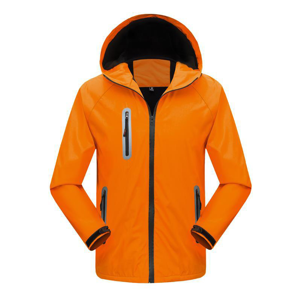 Men's and Women's Jackets Autumn and Winter Outdoor Reflective Waterproof and Breathable  Jackets Orange_M