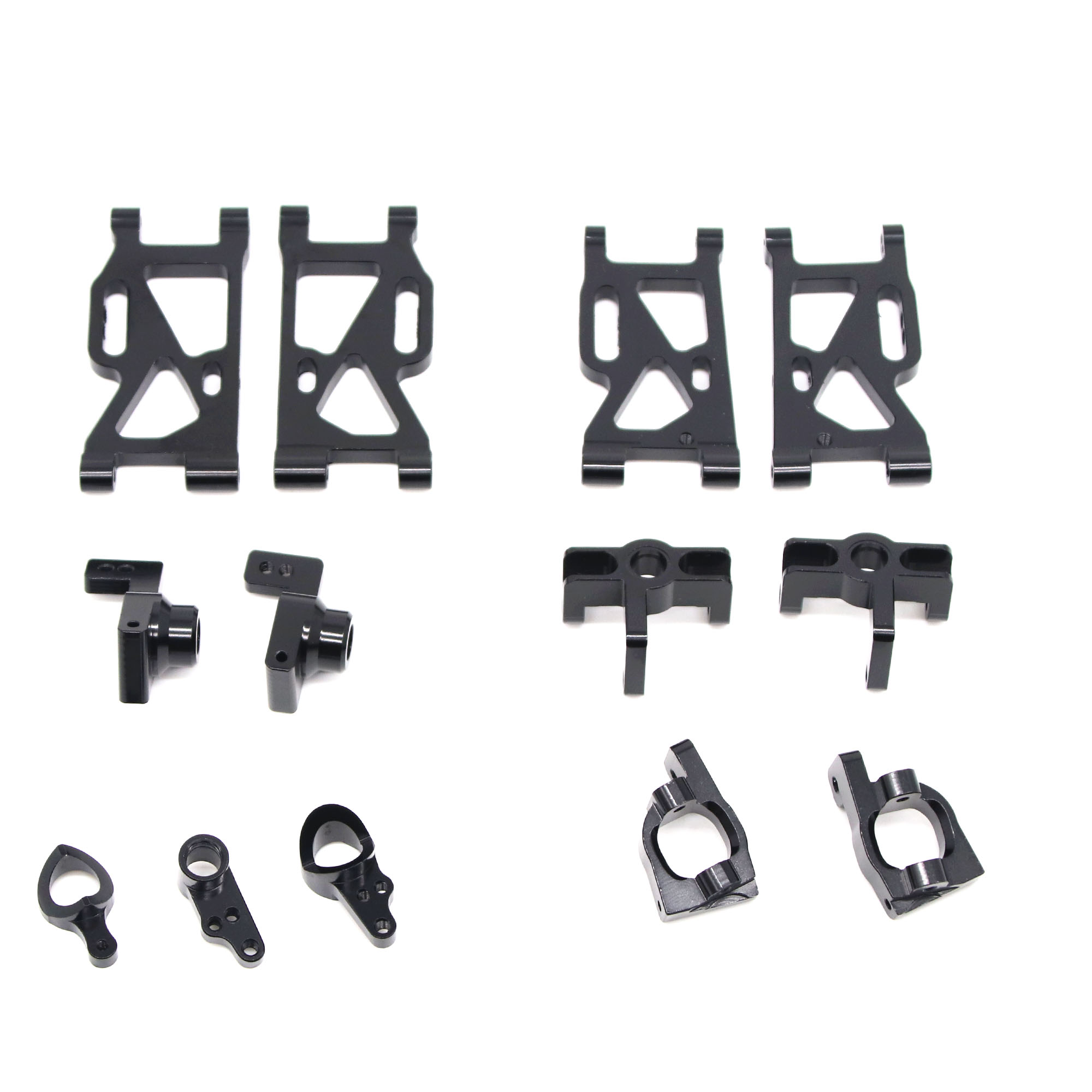 13Pcs/set Metal Front Rear Wheel Seat Base C Swing Arm Steering Clutch Component for WLtoys 144001 1/14 RC Car Upgrade Spare Parts black_13PCS