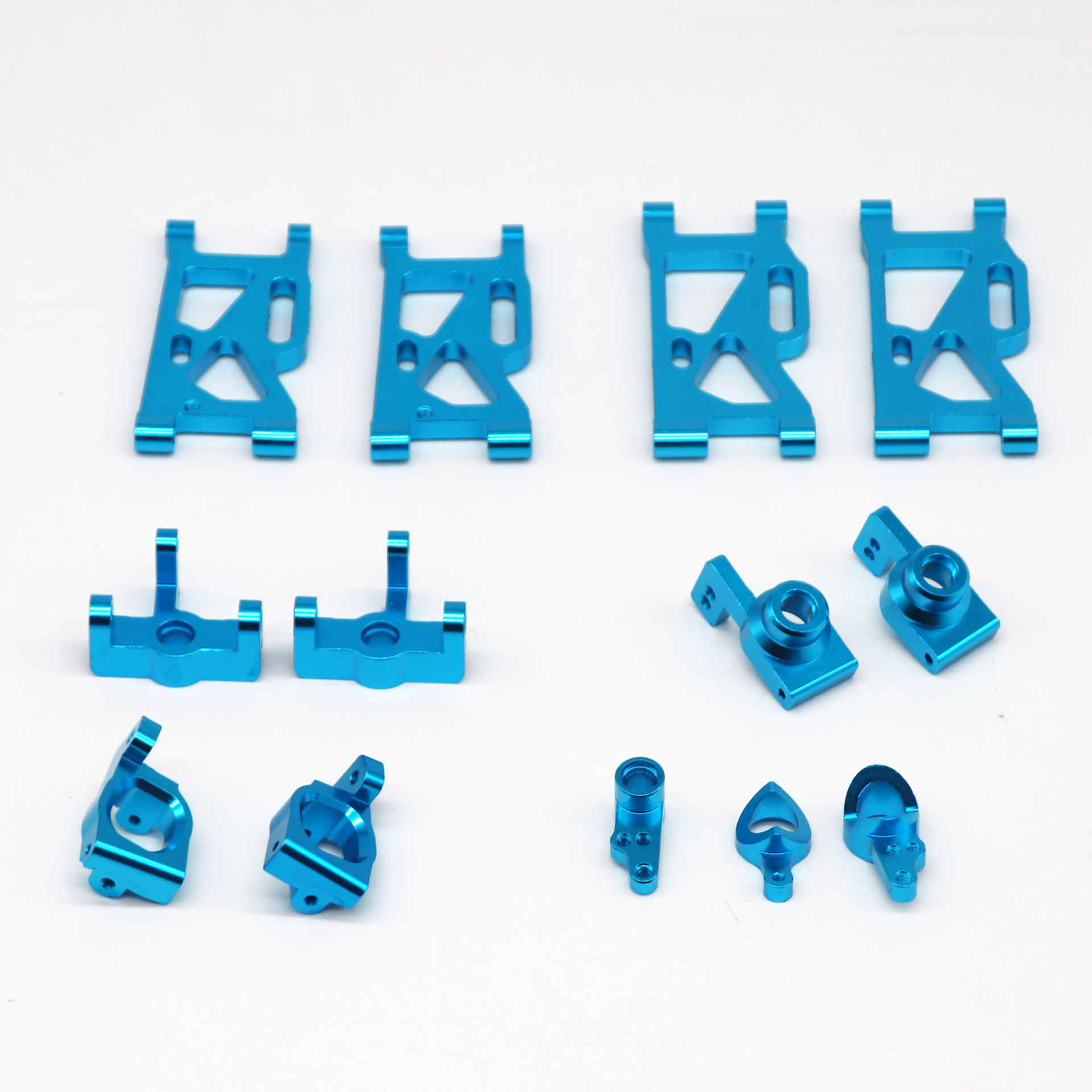 13Pcs/set Metal Front Rear Wheel Seat Base C Swing Arm Steering Clutch Component for WLtoys 144001 1/14 RC Car Upgrade Spare Parts blue_13PCS