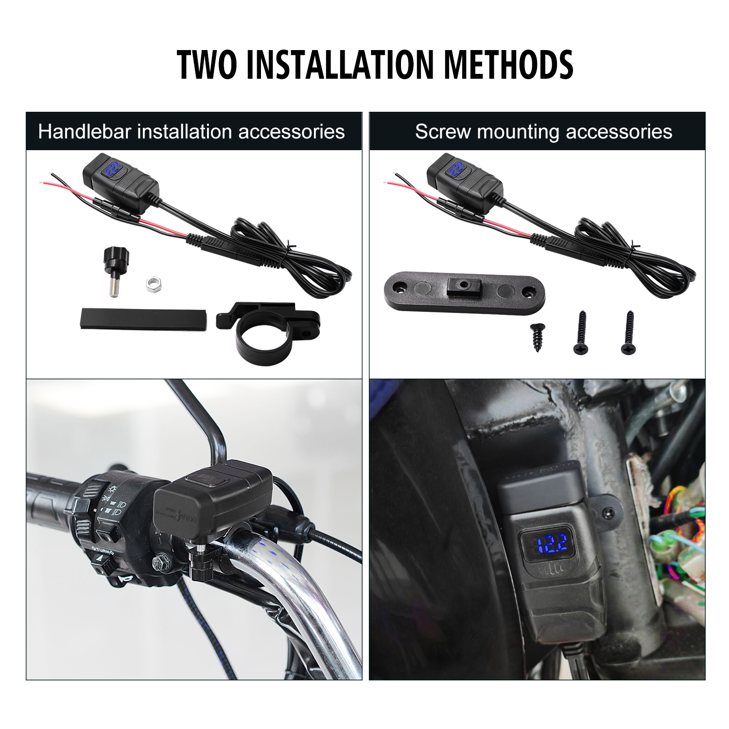 Motorcycle Vehicle-mounted Charger Waterproof Dual QC 3.0 Quick Charge 12V Phone Charger Voltmeter Switch Blue voltmeter