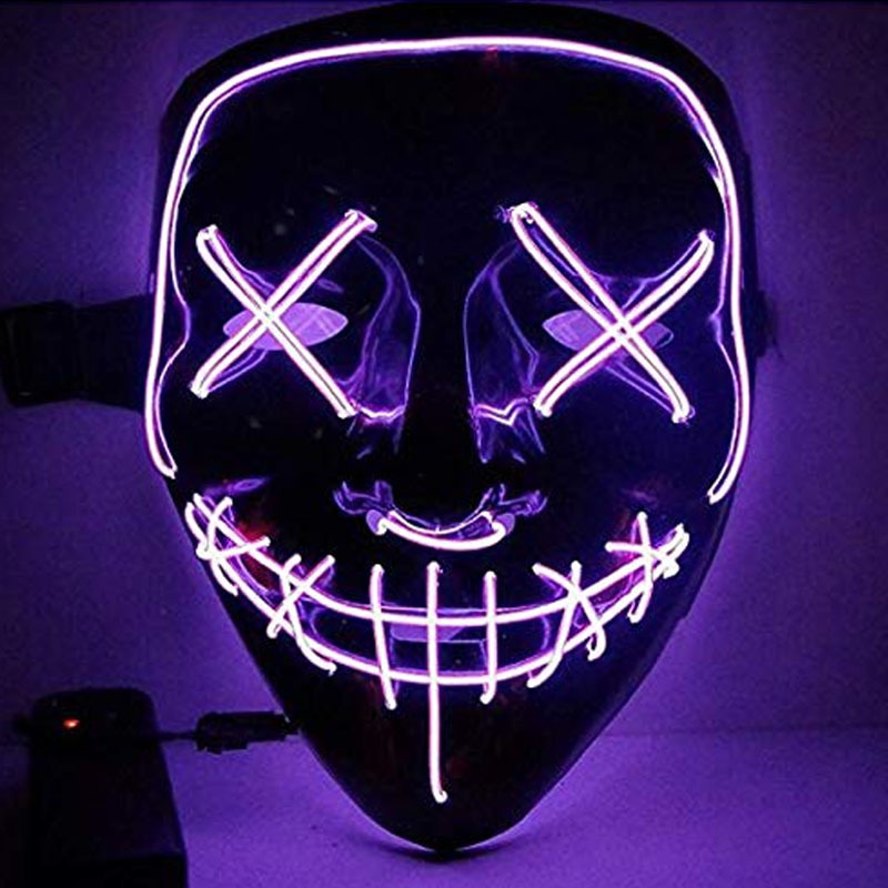 Led Mask for Halloween EL Light KTV Dance Party Scary Mask purple