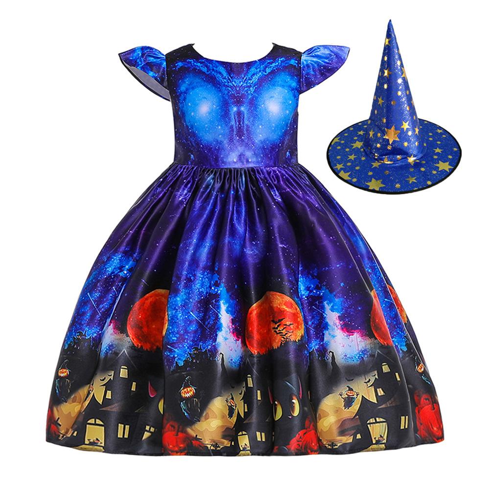 Children Dress Halloween Princess Dress Ghost Print Children's Dress with Hat WS003-blue [with hat]_130cm