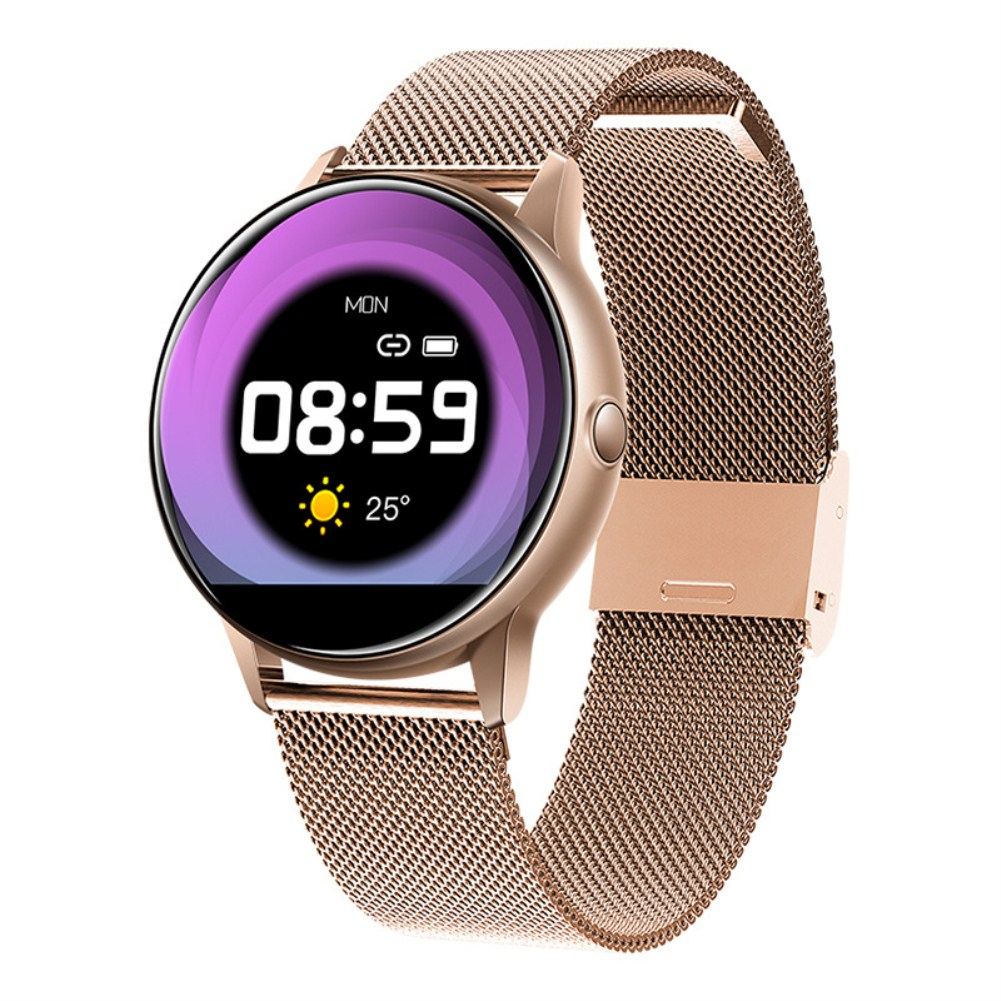 C009 Smart Bracelet Silicone Round Full-Screen Touch Heart Rate Sleep Health Monitoring Sports Smart Watch Gold steel