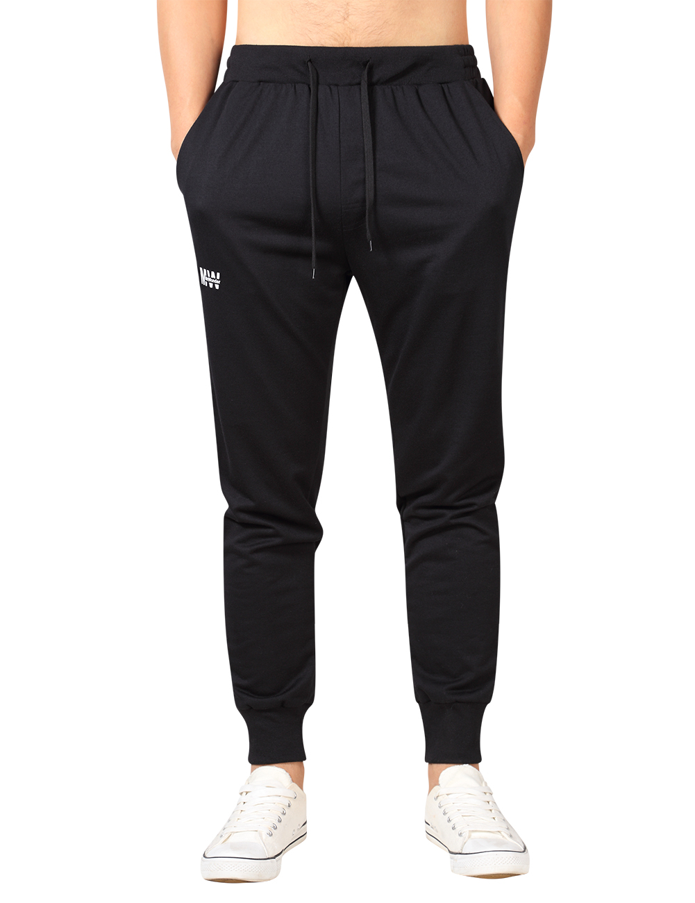 MrWonder Men's Casual Joggers Pants Fitness Running Trousers Slim Fit Bottoms Sweatpants with Pockets Black_XL