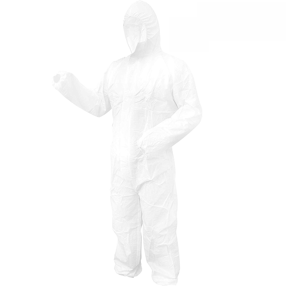 Disposable Bootie and Hood Coverall Suit Dustproof Breathable SMS Non-woven Isolation Garment 185cm