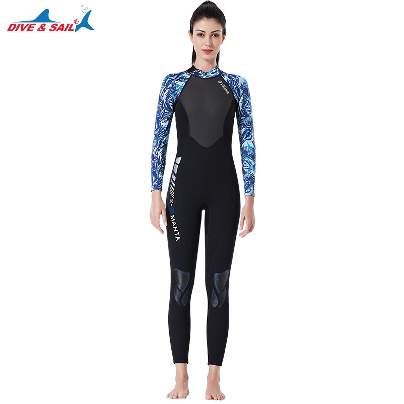 3mm Couples Wetsuit Warm Neoprene Scuba Diving Spearfishing Surfing Wetsuit Female black/blue_S
