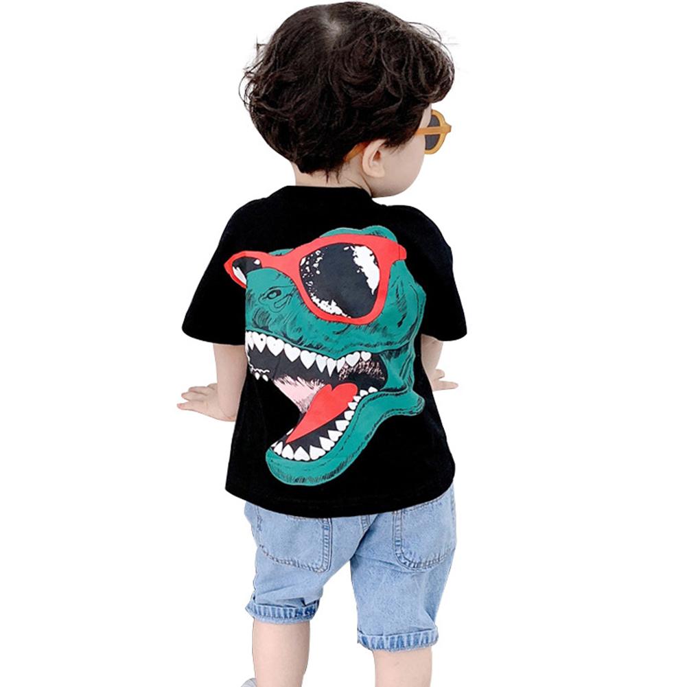 Kids Boys Girls Fashion Cartoon 3D Dinosaur Printing Short Sleeve T-shirt Black dinosaur _130cm
