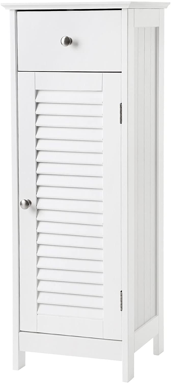 [US Direct] Bathroom Floor Cabinet Storage Organizer Set with Drawer and Single Shutter Door Wooden White
