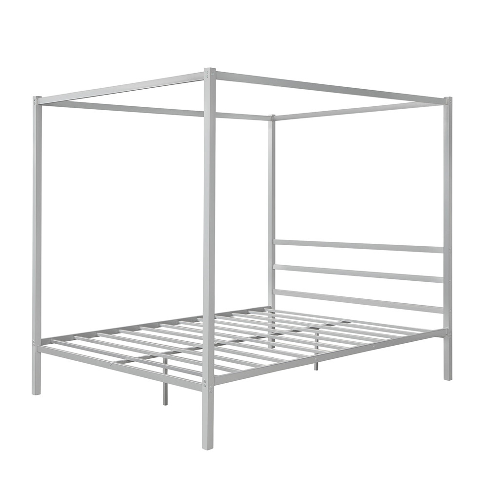 [US Direct] Metal Framed Canopy  Platform  Bed With Built-in Headboard Household Furniture Silver