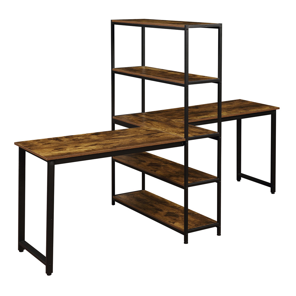 [US Direct] Home Office Two Person Computer  Desk With Shelves Extra Large Double Workstations Office Desk With Storage Shelves Brown