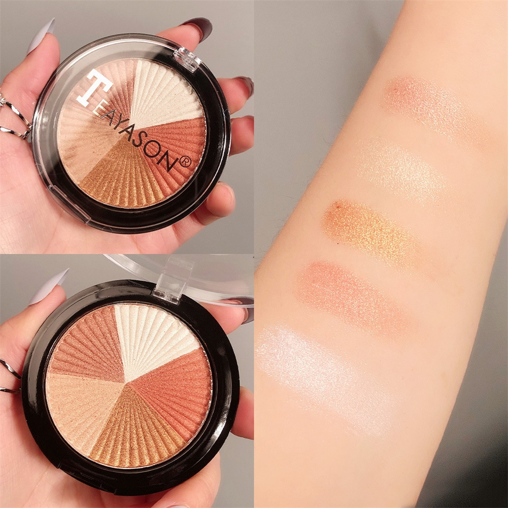 Pressed Blusher Five-color High-gloss Brightening Facial Palette Makeup Cosmetics No. 1 High Disc