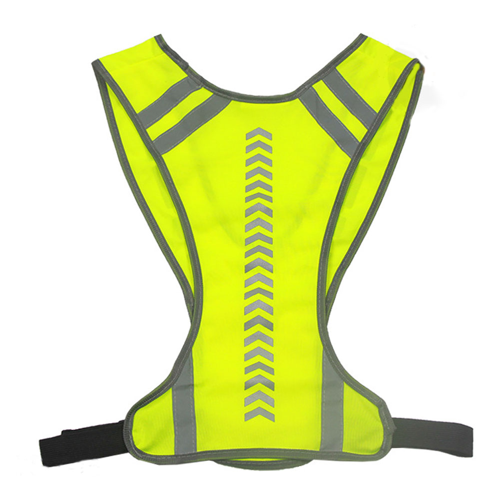 Reflective Vest Reflective Stripes Safety Vest Night Cycling Running Jogging Safety Jacket Fluorescent yellow
