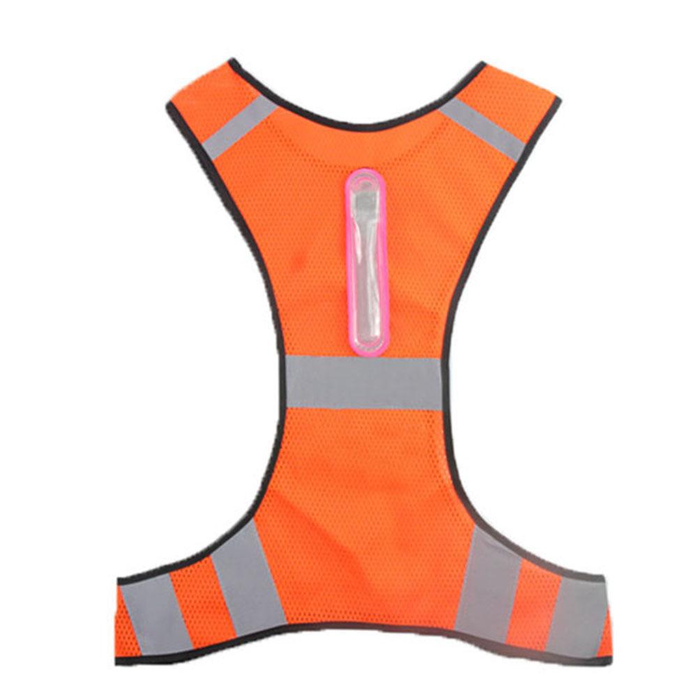 Led Reflective Vest Reflective Stripes Safety Vest Led Night Cycling Running Jogging Jacket Orange