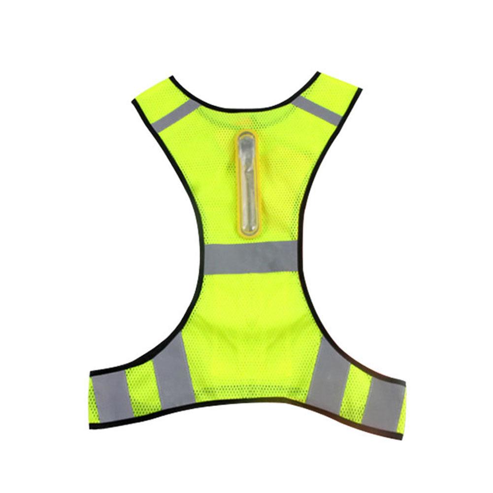 Led Reflective Vest Reflective Stripes Safety Vest Led Night Cycling Running Jogging Jacket Fluorescent yellow