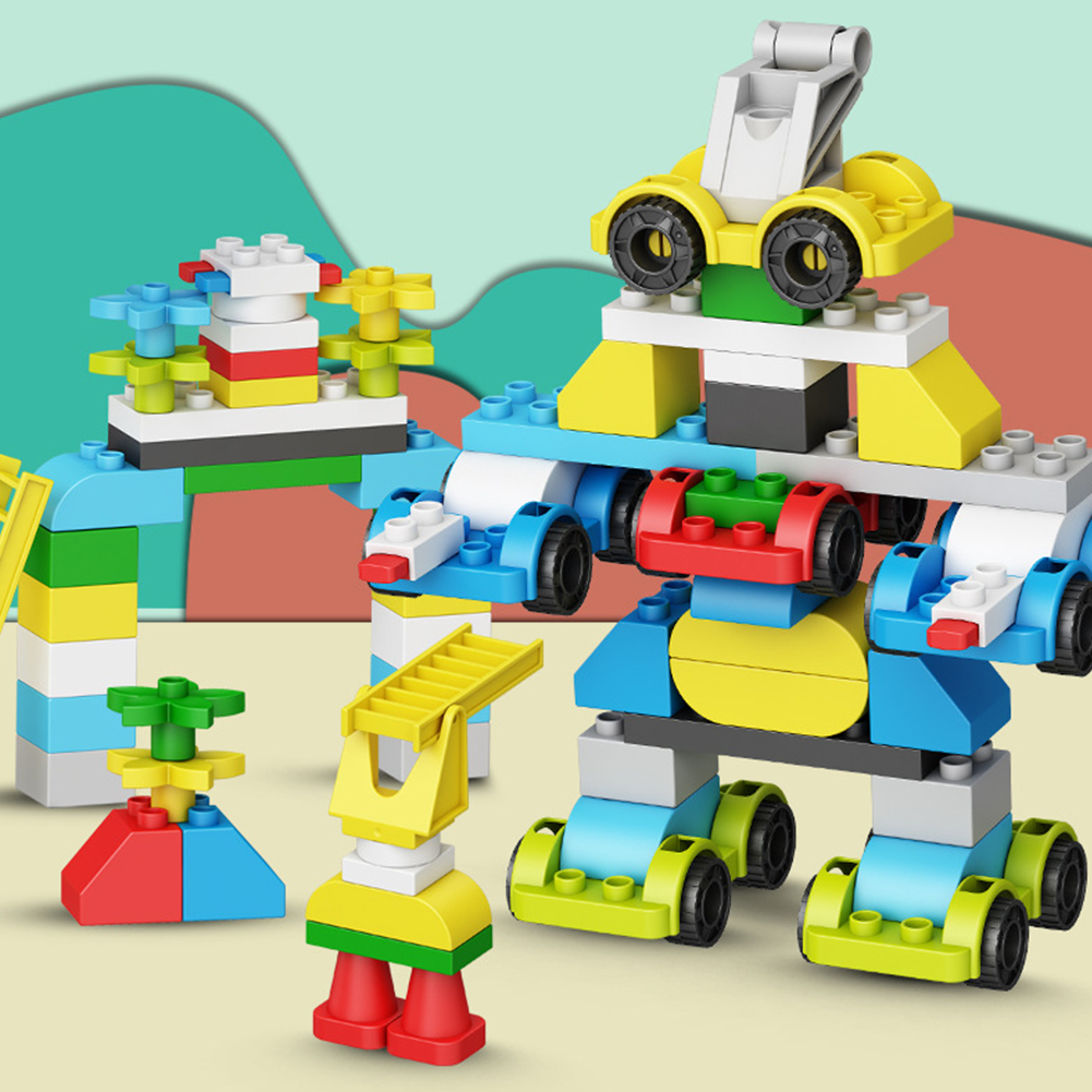 119pcs/set Boy Girl Transformation Car Robot Building Block Early Education Assemble Toy Plastic Gift