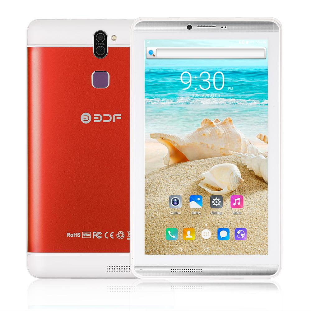 BDF706 7inch 3G Phone Call Tablet PC Android 6.0 Quad Core 1G+16G WiFi Bluetooth Laptop EU Plug red_1GB+16GB