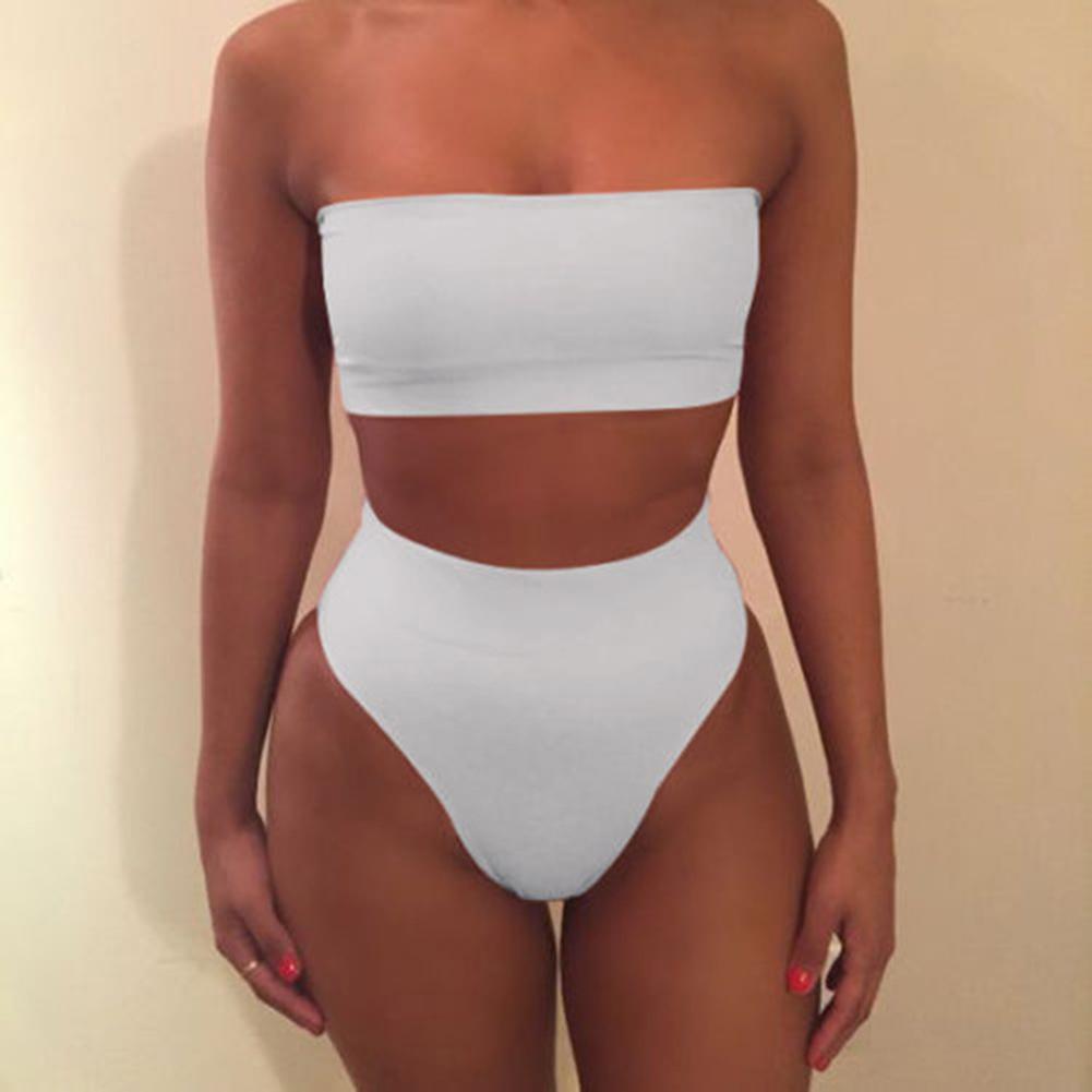 Bathing Suit Boob Tube Top + Underwear Sexy High-waisted Split Bikini Sexy Underwear white_L