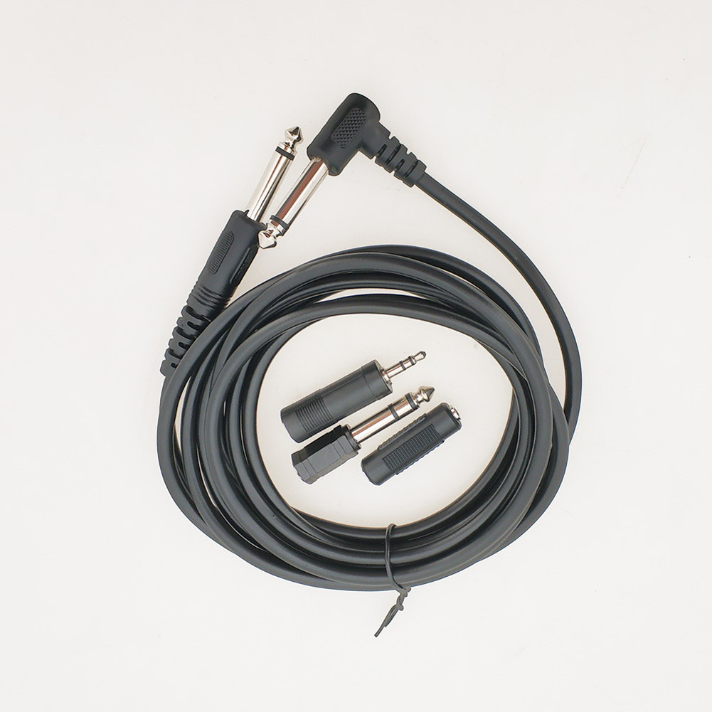 3-meter Connection Line for Speaker 6.35mm Straight Head to 6.35 elbow Head + 3 Conversion Heads  black