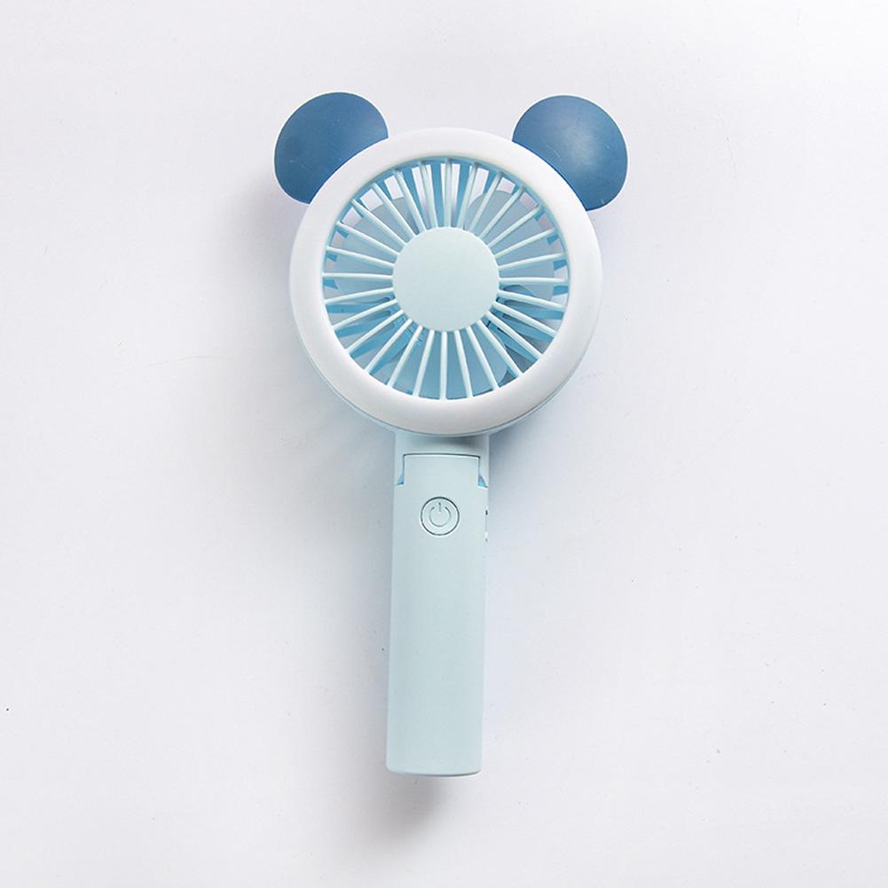 USB Mini Fan Cartoon Handheld Electric Creative USB Charging Fan Big round ears blue_21.*9cm