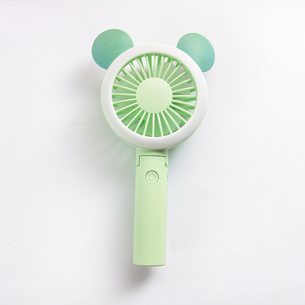 USB Mini Fan Cartoon Handheld Electric Creative USB Charging Fan Big round ears green_21.*9cm