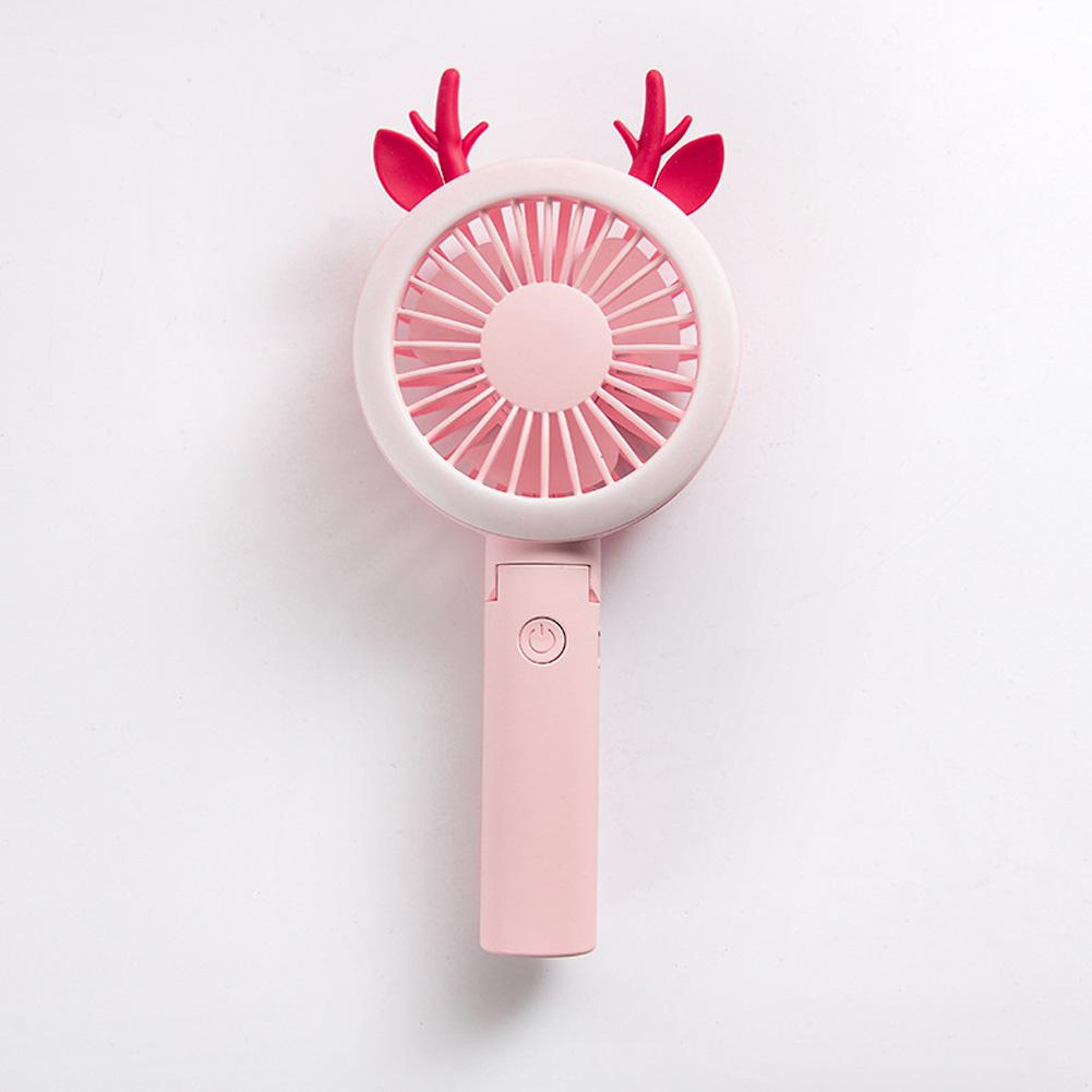 USB Mini Fan Cartoon Handheld Electric Creative USB Charging Fan Antler pink purple_21.*9cm