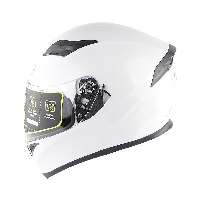 Full Face Motorcycle Helmet Sun Visor Dual Lens Moto Helmet Pearl White_L