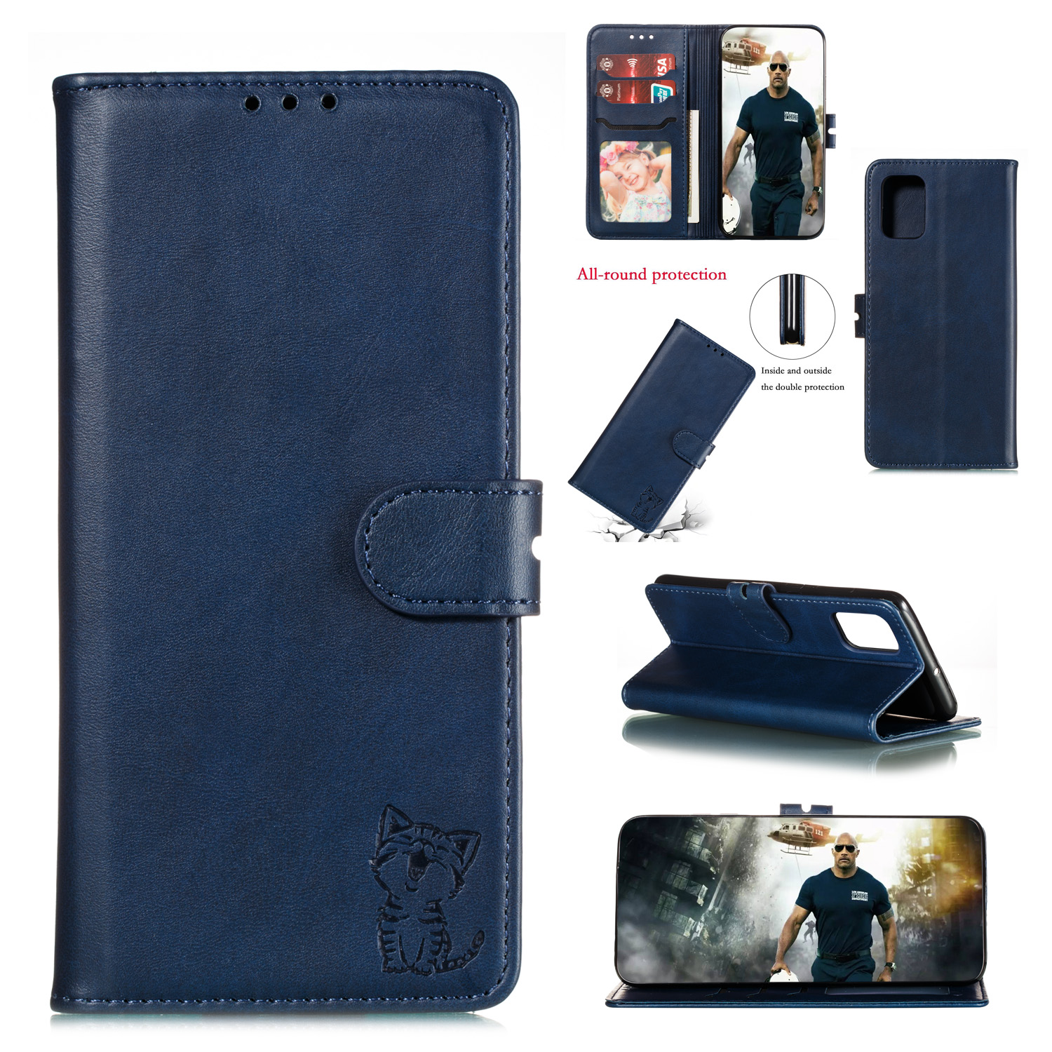 For HUAWEI P40 Pro Mobile Phone Cover PU Leather Front Buckle Smart Shell Anti-fall Phone Case 3 blue