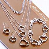 Women`s elegant 925 Sterling silver elegant Heart Necklace Bracelet Earring Set by Preciastore