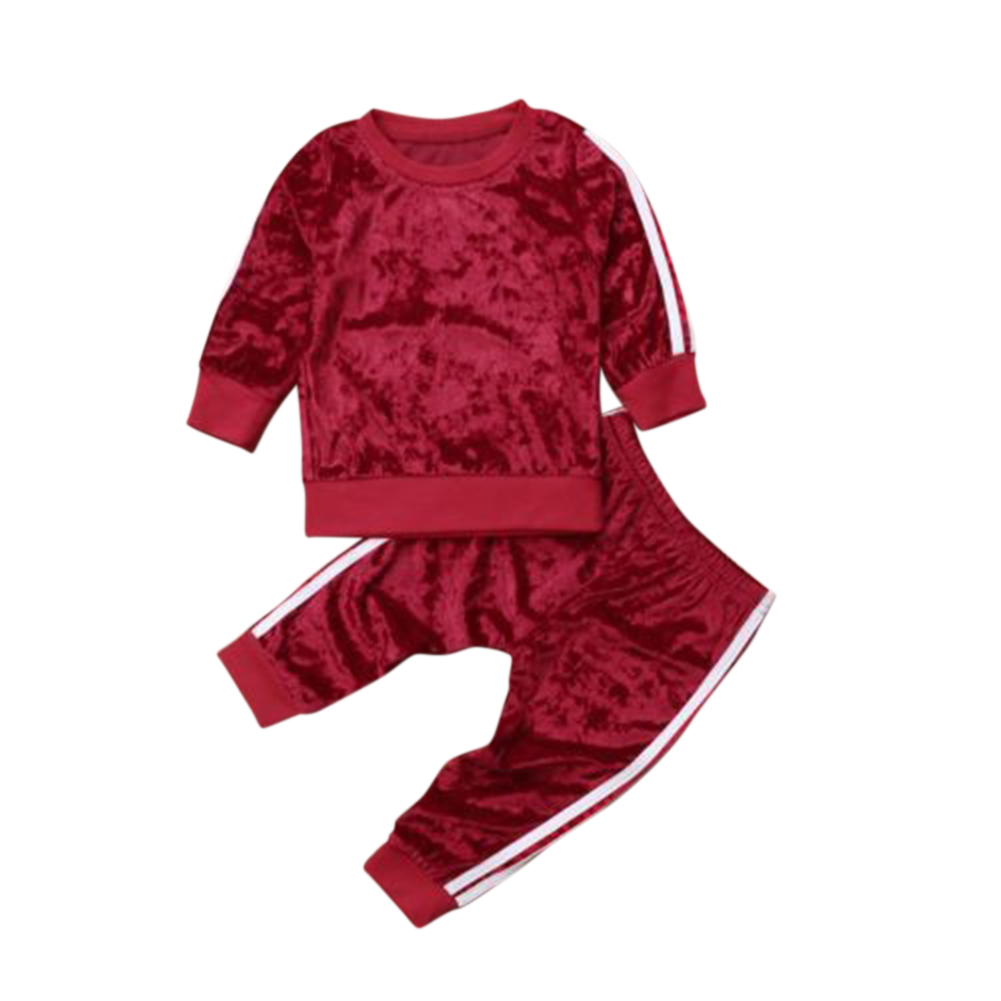 2Pcs/set Boys Girls Soft Pleuche Long Sleeved Shirt + Trousers Sport Suit