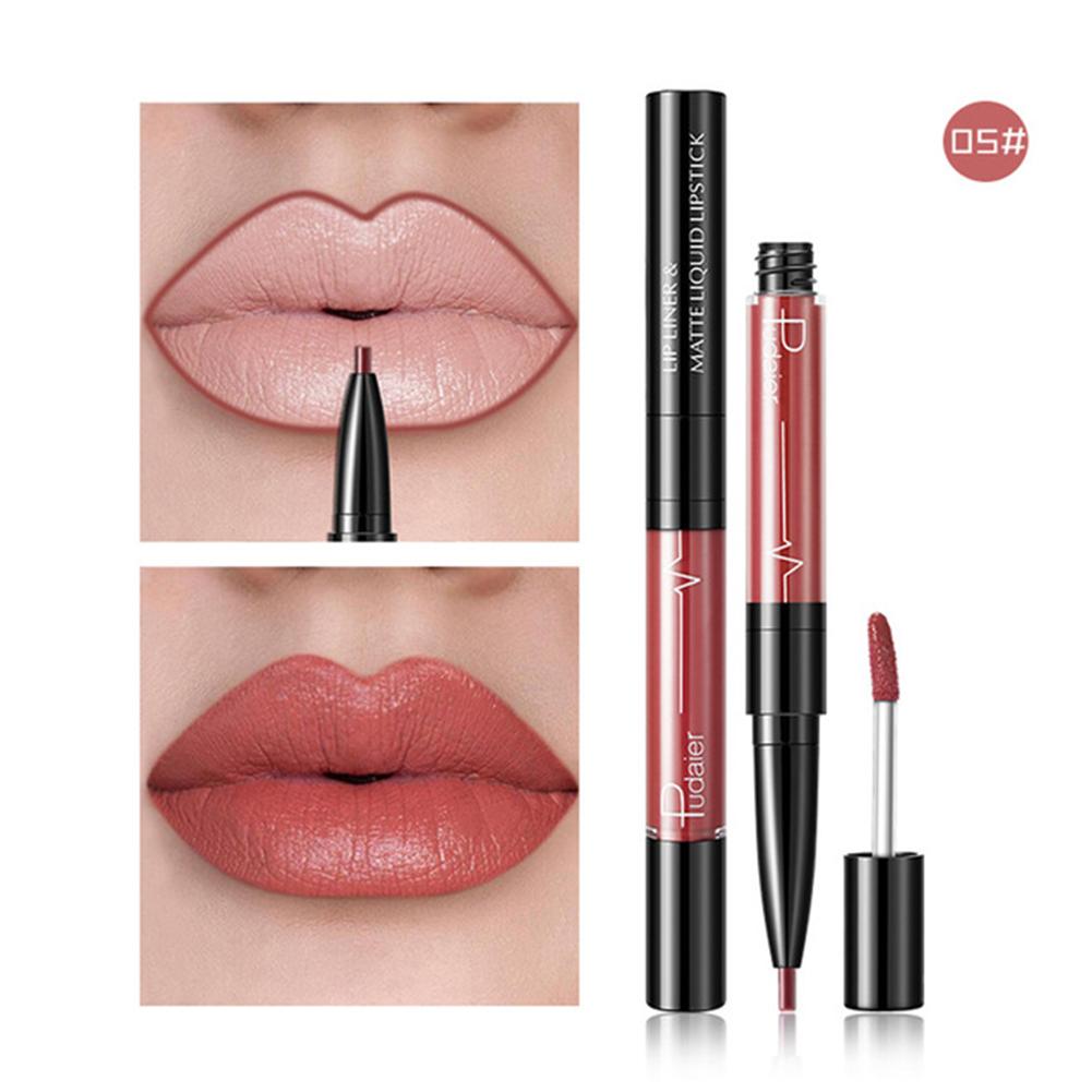 Waterproof Matte Nude Lasting Lip Liner Double-head Lipstick Pen Matte Nude Lipstick