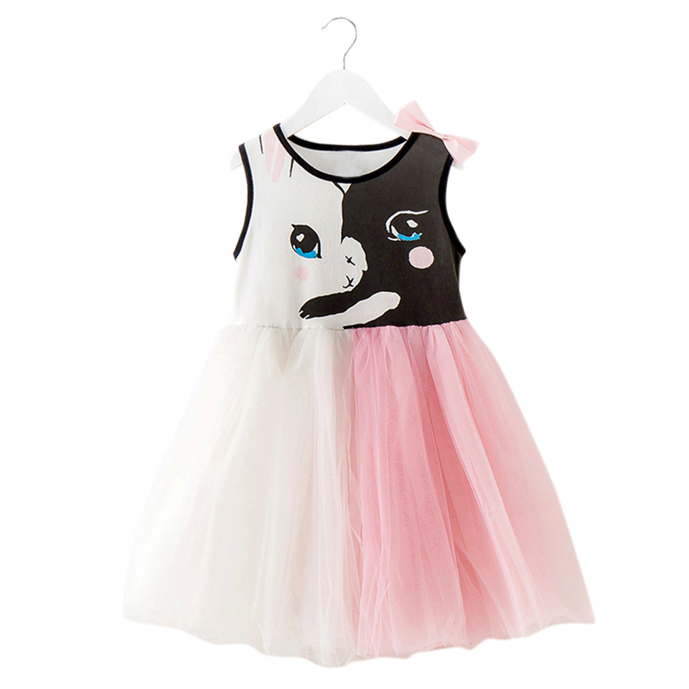 Children Mixed Color Gauze Skirt Girls Rabbit Print Dress with Bowknot in Summer