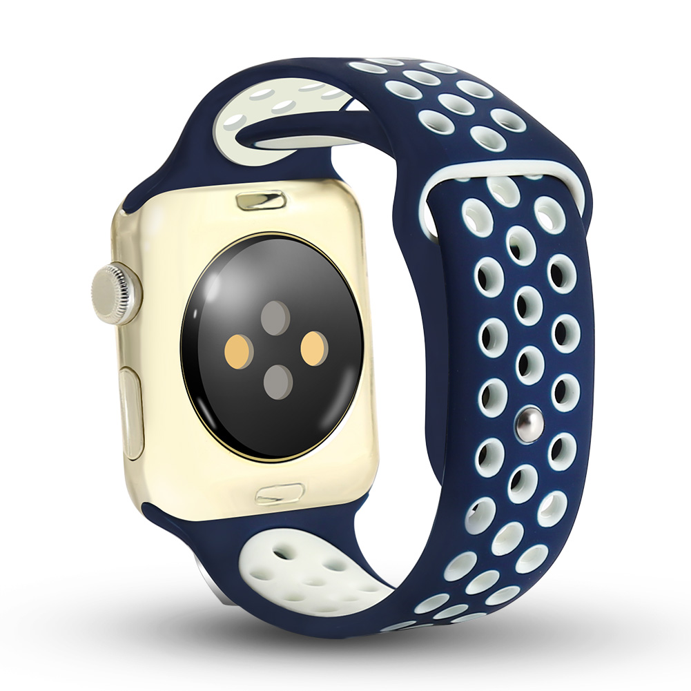 [US Direct] Apple Watch Band 42mm,Soft Silicone Quick Release Replacement Strap for Apple iWatch Series 1 Series 2 Navy and White