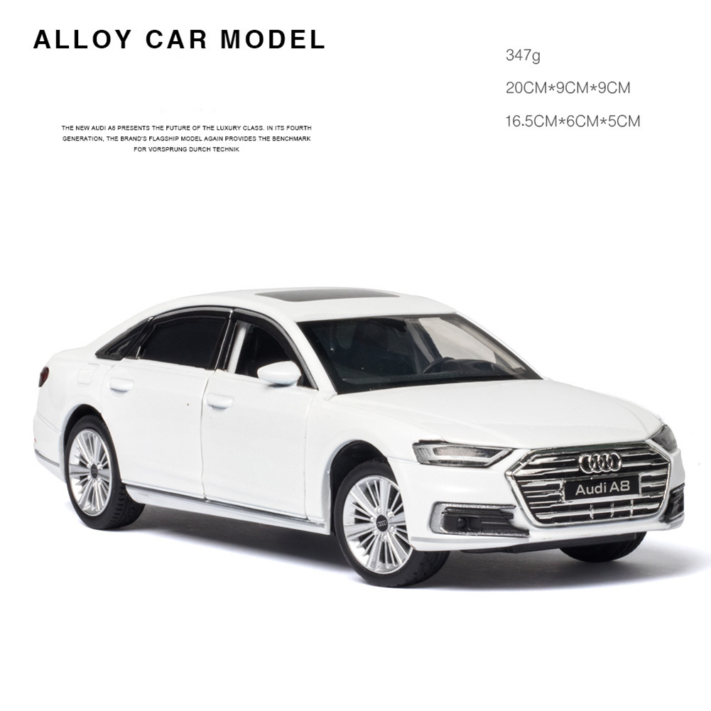 1:32 Alloy Car Model Collectiion 6 Openable Doors Return Power Music Light Toy white