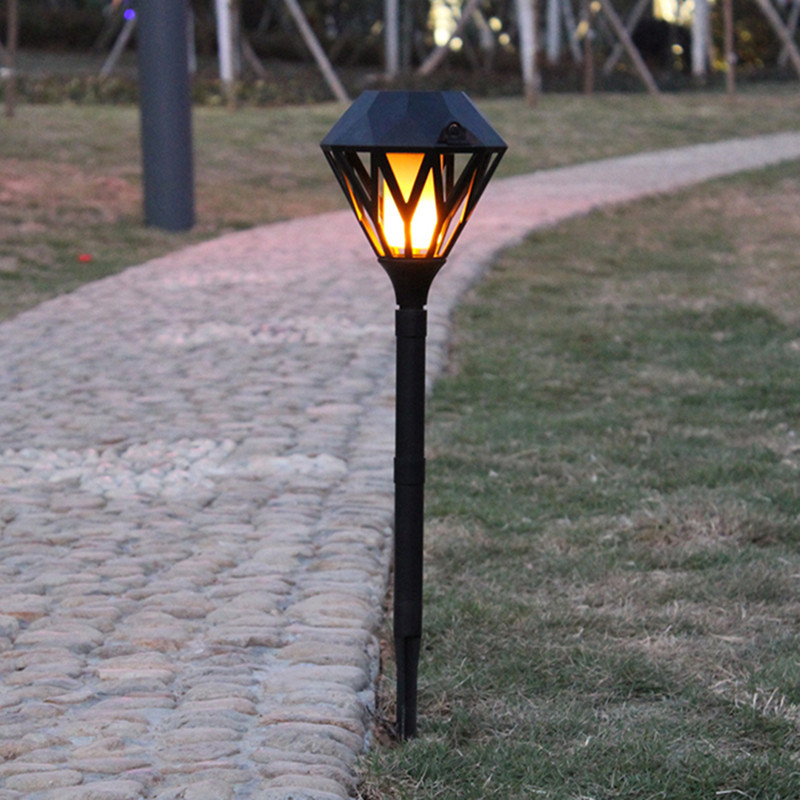 Solar Flame Flickering Lawn Lamp Outdoor Waterproof USB Rechargeable Led Flame Light Decor black