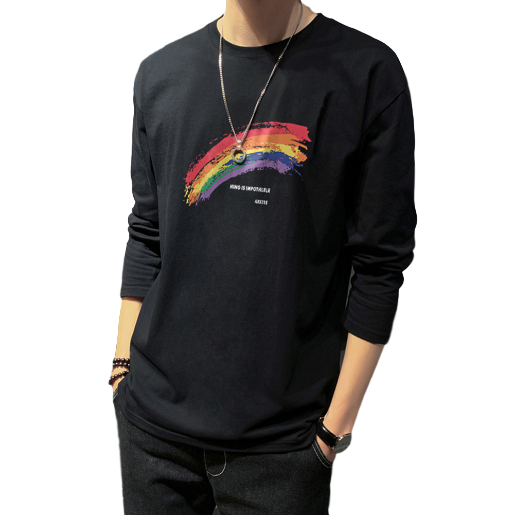 Men's T-shirt Autumn Long-sleeve Thin Loose Rainbow-printing Bottoming Shirt black_XL