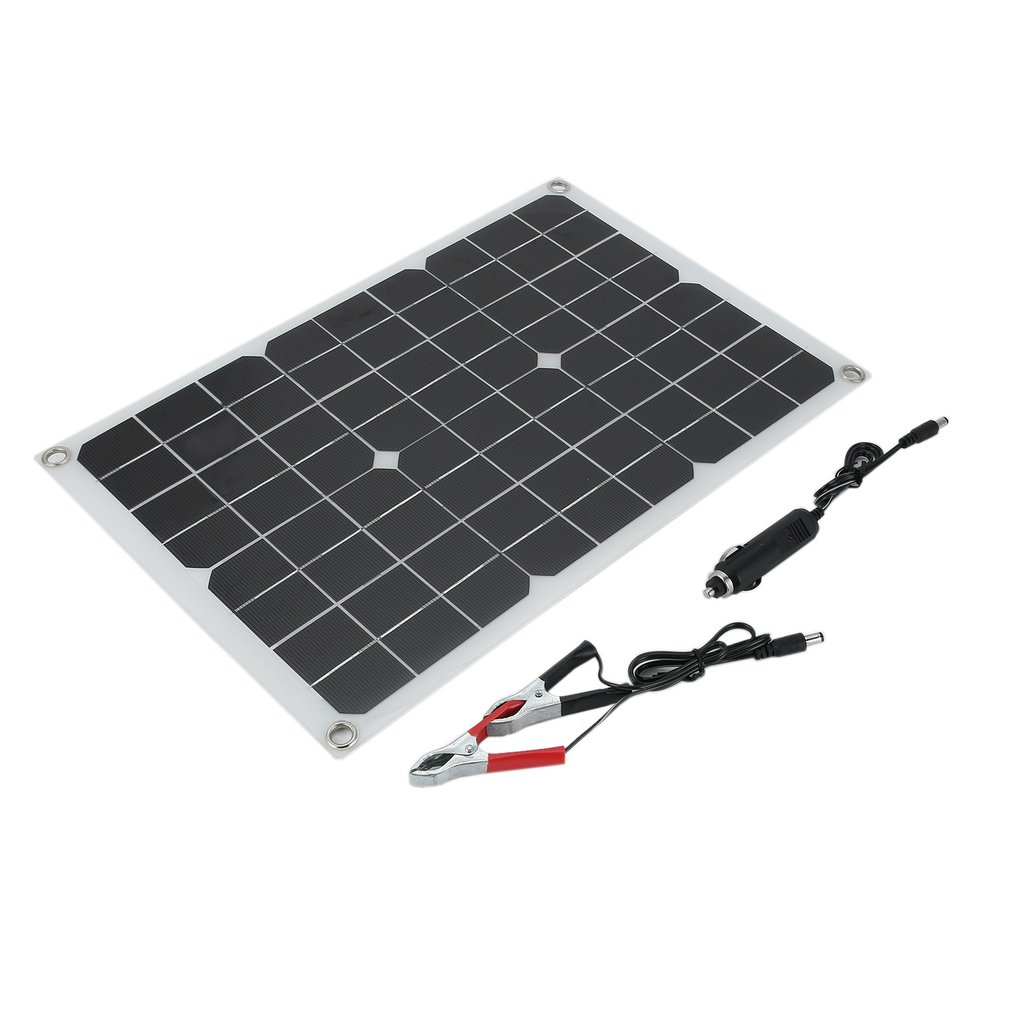 20W Multipurpose Single Crystal Solar Power Panels Mobile Phone Charging Portable Emergency Charging Panels for Vehicle Black and white