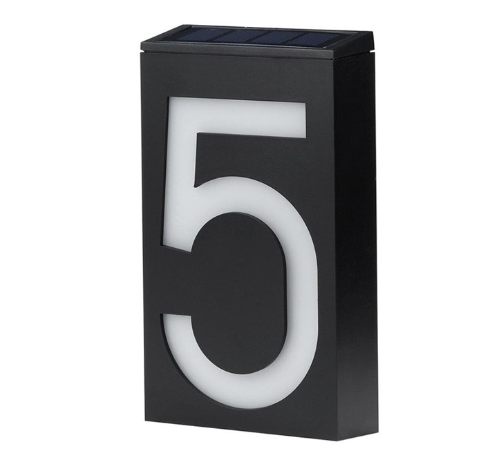 Solar Powered House Number Doorplate Lamp 6 LED Light-operated Wall Light Sign Lamp