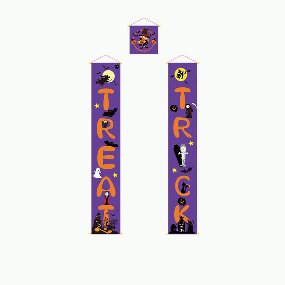 3Pcs/Set Trick or Treat Printing Door Curtain Porch Sign Halloween Decoration blue