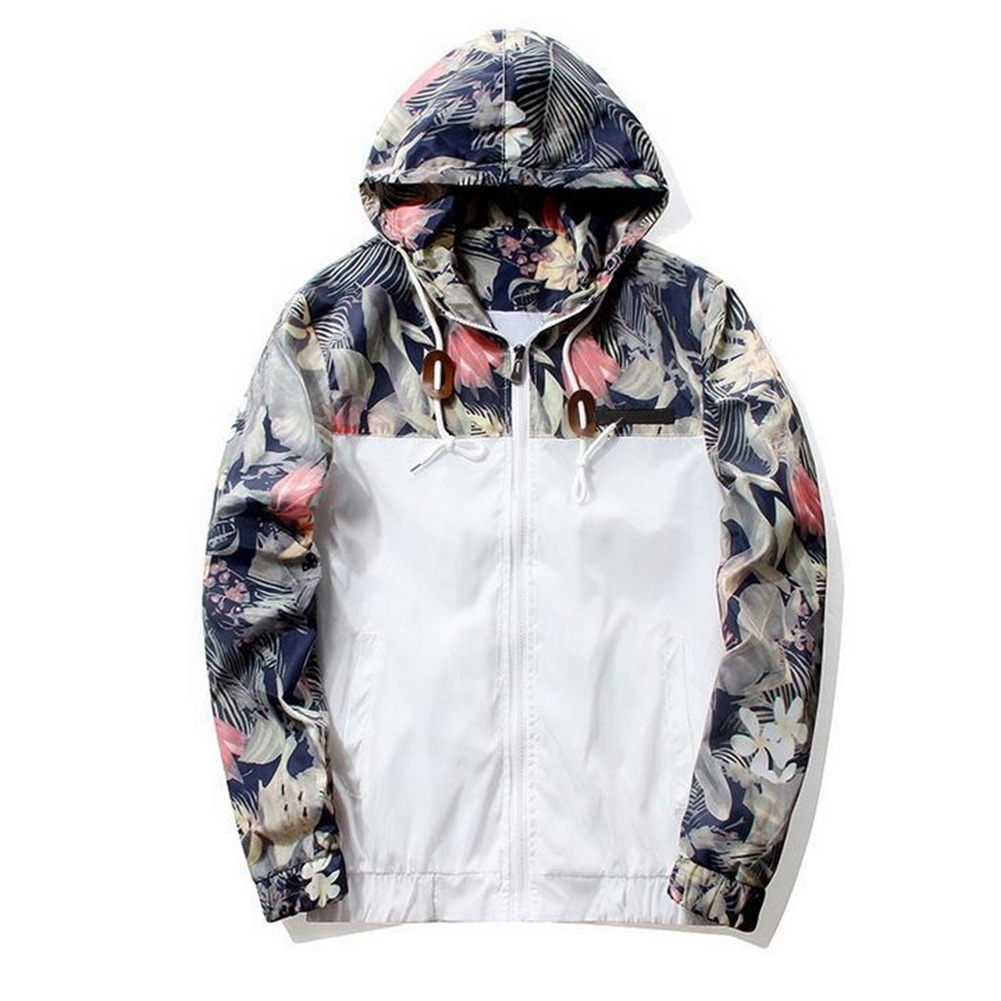 Men Simple Casual Loose Hooded Jacket Camouflage Print Stitching Coat Tops  white_M