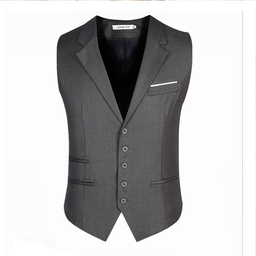 Men Stylish Suit Collar Slim Sleeveless Waistcoat gray_XL